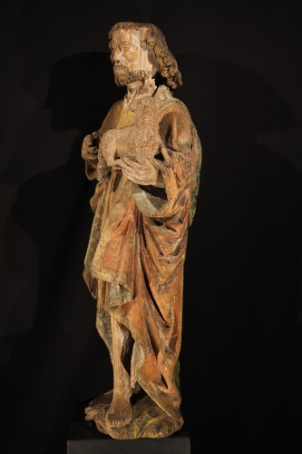 Sculpture  - Middle of 16thC. St John the Baptist in Oak wood with traces of polychromy