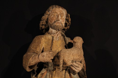 <= 16th century - Middle of 16thC. St John the Baptist in Oak wood with traces of polychromy