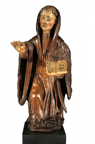 16th C Statue in polychrome walnut wood representing Saint Benedict. France