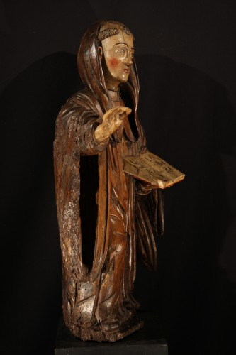 Sculpture  - 16th C Statue in polychrome walnut wood representing Saint Benedict. France