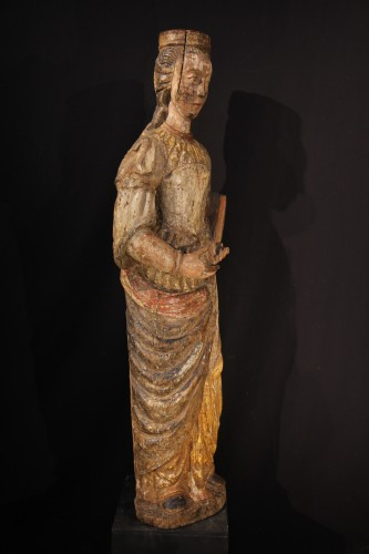 Sculpture  - Ste Catherine of Alexandria. Early 16th C statue from France.