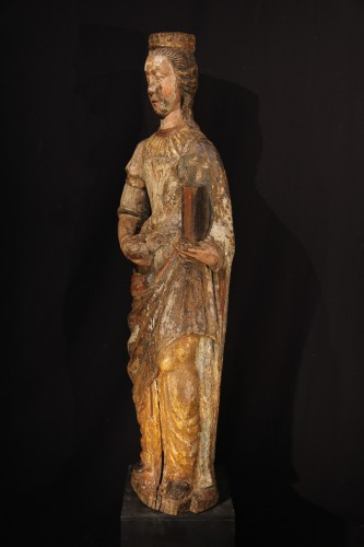 Ste Catherine of Alexandria. Early 16th C statue from France. -