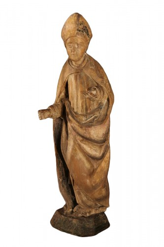16thC statue. Saint bishop in lime wood with traces of polychromy.