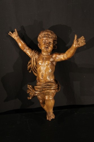 17th C Pair of little angels in carved and patinated limewood . - Sculpture Style