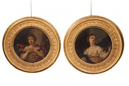 Pair of tondi half-length portraits of young women, 18thC French school