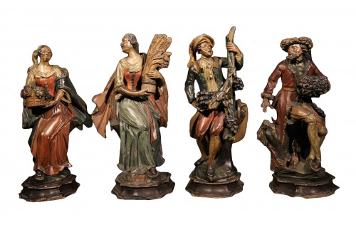 18th C Italian Statuettes in  polychrome wood representing the 4 seasons.