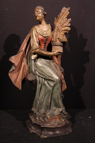 Sculpture  - 18th C Italian Statuettes in  polychrome wood representing the 4 seasons.