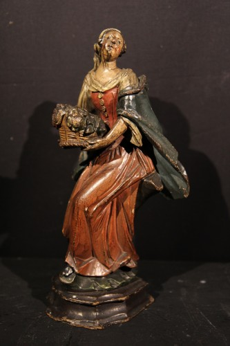 18th C Italian Statuettes in  polychrome wood representing the 4 seasons.  -