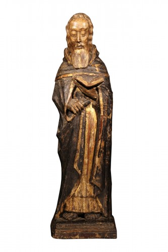 St Antony the Great. Gilt and polychrome wood. Gothic period : 14-15 th C.