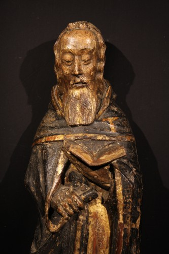 St Antony the Great. Gilt and polychrome wood. Gothic period : 14th C.  - Sculpture Style Middle age