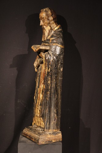 Sculpture  - St Antony the Great. Gilt and polychrome wood. Gothic period : 14th C.