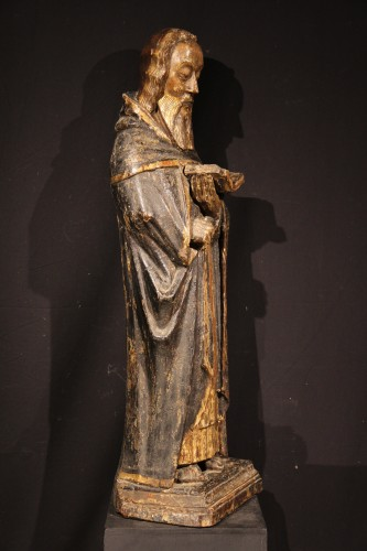 St Antony the Great. Gilt and polychrome wood. Gothic period : 14th C.  -