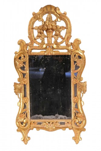 Late 18th C mirror with glazing bead, in gilt wood, Provencal work.