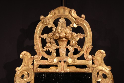 Late 18th C mirror with glazing bead, in gilt wood, Provencal work. - Mirrors, Trumeau Style