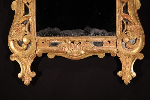 Mirrors, Trumeau  - Late 18th C mirror with glazing bead, in gilt wood, Provencal work.