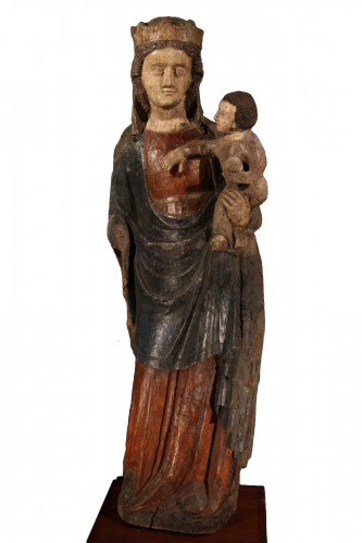 14thC Virgin and Child. Important sculpture in polychrome wood. From France