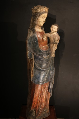 14thC Virgin and Child. Important sculpture in polychrome wood. From France - Sculpture Style Middle age
