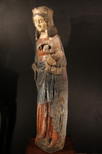 Sculpture  - 14thC Virgin and Child. Important sculpture in polychrome wood. From France