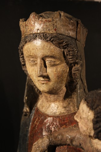 14thC Virgin and Child. Important sculpture in polychrome wood. From France -
