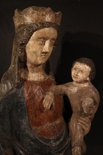 14thC Virgin and Child. Important sculpture in polychrome wood. From France - Middle age