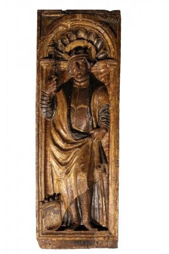 Polychrome and gilt wood panel dated 1525. Bamberg (Bavaria) Henri II