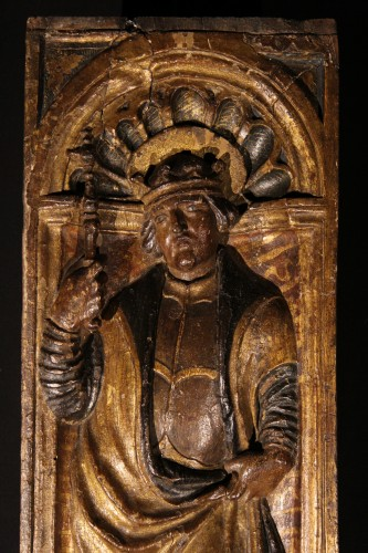 Polychrome and gilt wood panel dated 1525. Bamberg (Bavaria) Henri II - Sculpture Style