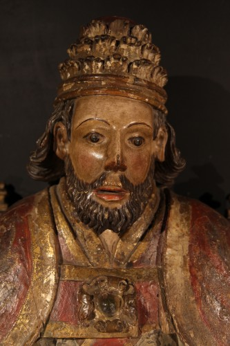 God the Father as Supreme Pontiff. Late 16th C statue from Northern France. - Sculpture Style
