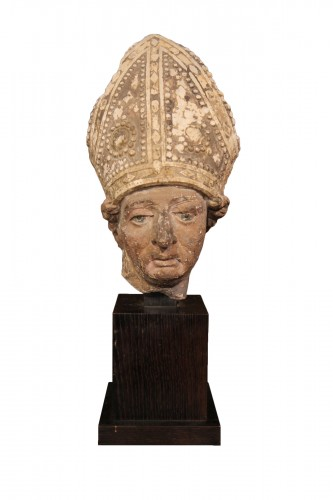 Early 16th C bishop's head in limestone . From Southern France (Languedoc).