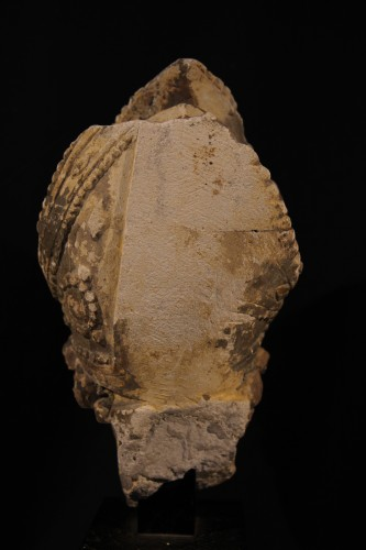 Early 16th C bishop's head in limestone . From Southern France (Languedoc). -