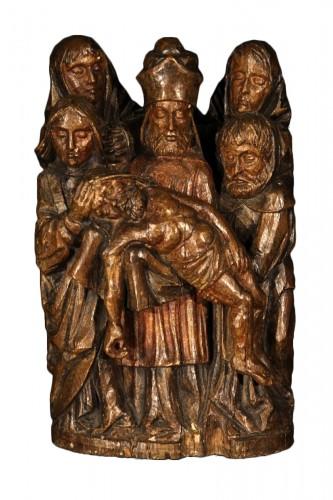 Carved oak wood Lamentation of the dead Christ, Rhine work circa 1500