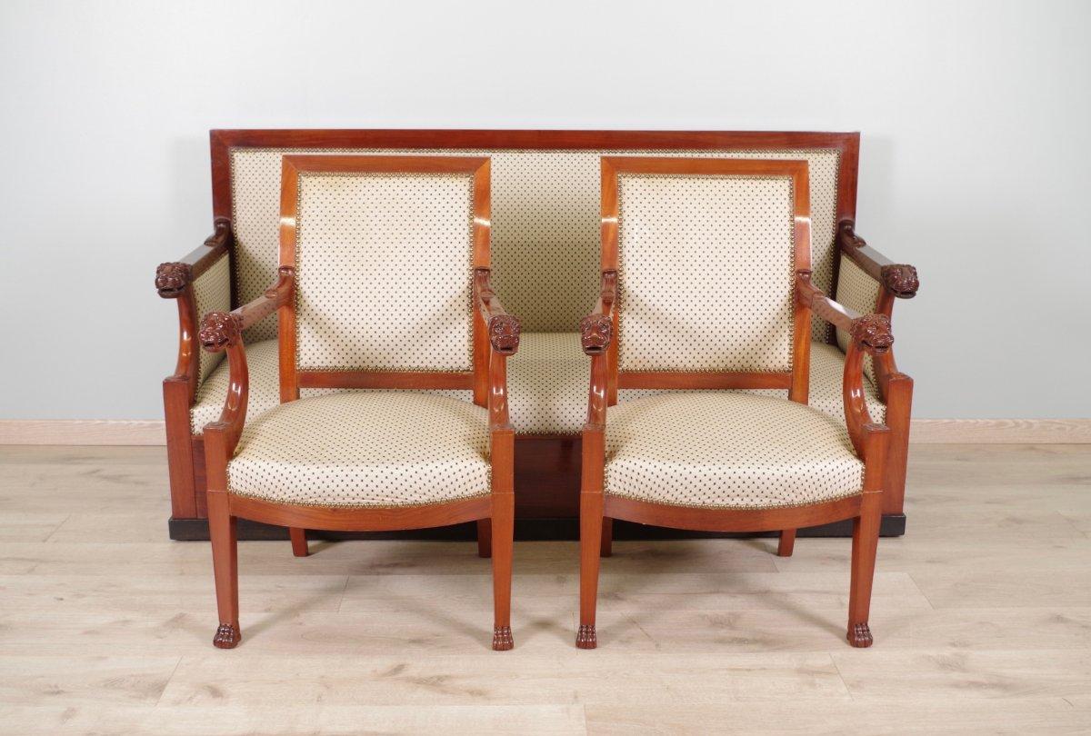 mobilier de salon t tes de lions d 39 poque consulat. Black Bedroom Furniture Sets. Home Design Ideas