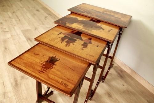 Furniture  - Art-Nouveau Nesting tables -  Emile Gallé