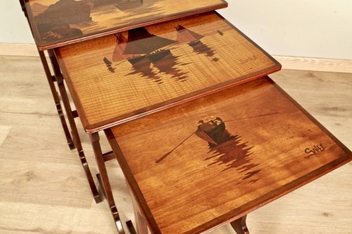 Art-Nouveau Nesting tables -  Emile Gallé - Art nouveau