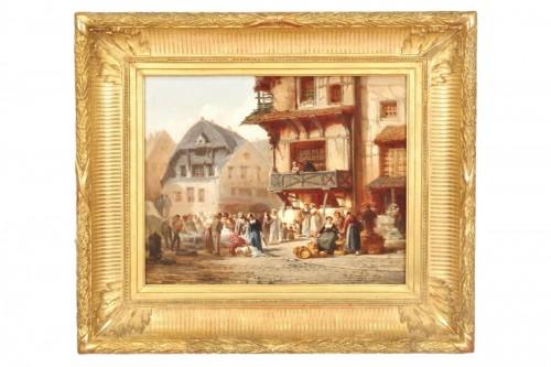 Léonard SAURFELT (1840-1890) - Market scene in Alsace