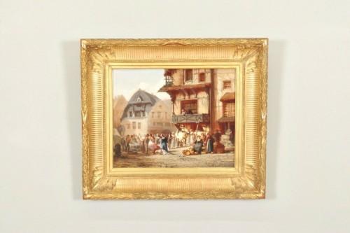 Léonard SAURFELT (1840-1890) - Market scene in Alsace - Paintings & Drawings Style