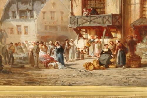 Paintings & Drawings  - Léonard SAURFELT (1840-1890) - Market scene in Alsace