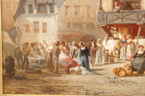 Léonard SAURFELT (1840-1890) - Market scene in Alsace -