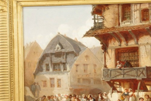 19th century - Léonard SAURFELT (1840-1890) - Market scene in Alsace