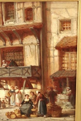 - Léonard SAURFELT (1840-1890) - Market scene in Alsace
