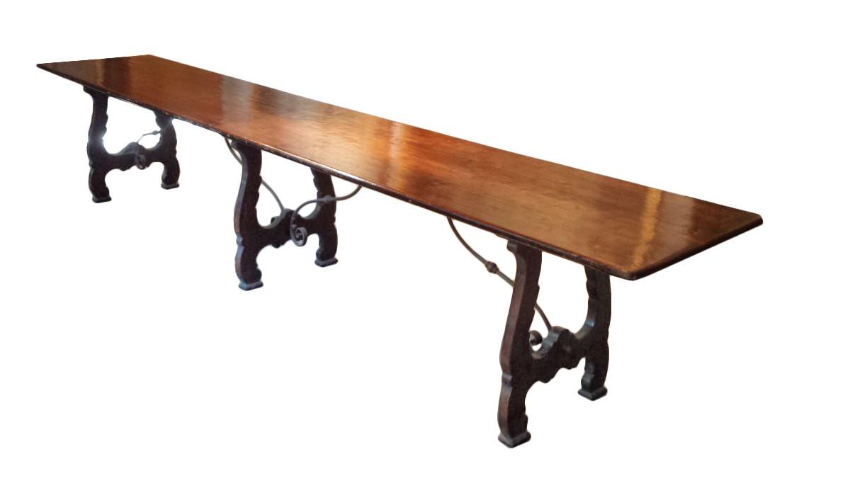 tr s grande table espagnole xixe si cle. Black Bedroom Furniture Sets. Home Design Ideas