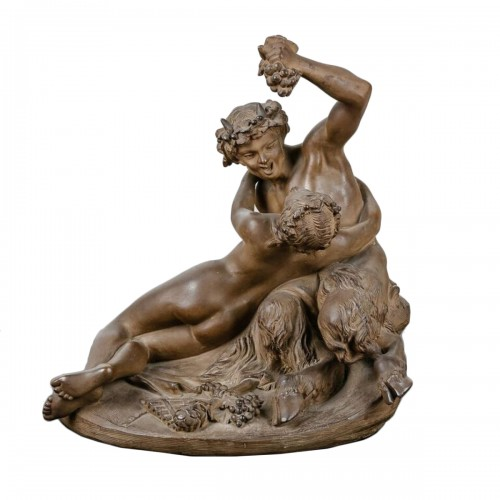 Satyr playing with a Nymph - Terracotta sculpture 19th century