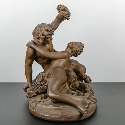 Sculpture  - Satyr playing with a Nymph - Terracotta sculpture 19th century