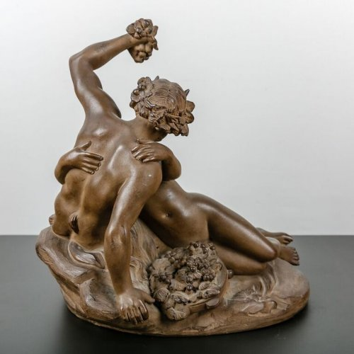 Satyr playing with a Nymph - Terracotta sculpture 19th century -