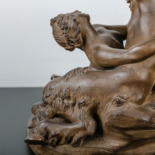 - Satyr playing with a Nymph - Terracotta sculpture 19th century