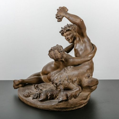 Antiquités - Satyr playing with a Nymph - Terracotta sculpture 19th century