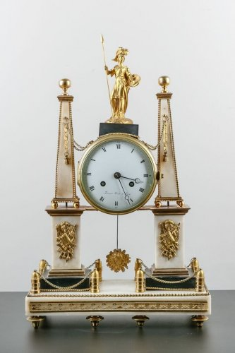 French Louis XVI white Carrare marble clock