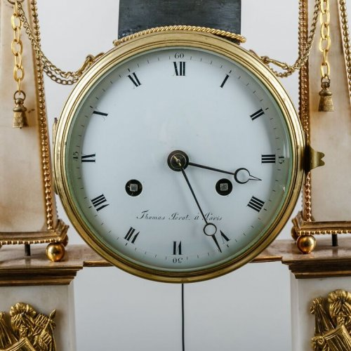 French Louis XVI white Carrare marble clock - Clocks Style