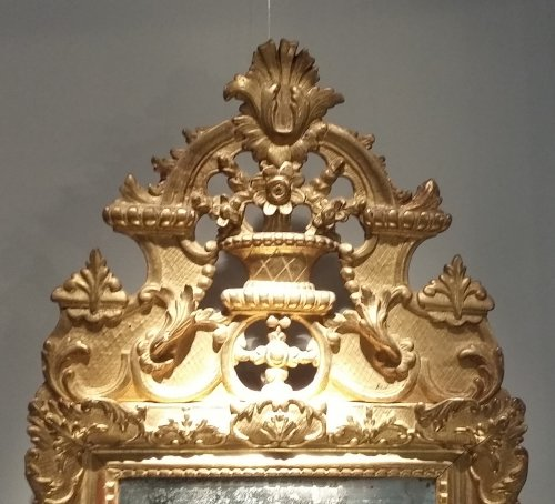 Giltwood mirror of Regence period, early 18th century - Mirrors, Trumeau Style French Regence
