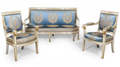 A suite of italian ivory painted and parcel-gilt salon set