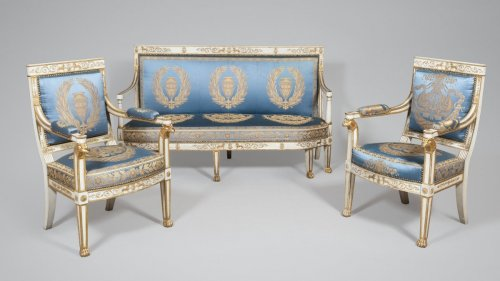A suite of italian ivory painted and parcel-gilt salon set -
